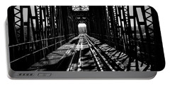 Red River Rail Road Crossing In Bw Portable Battery Charger by Diana Mary Sharpton