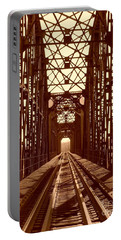 Portable Battery Charger featuring the photograph Red River Train Bridge #1 by Robert ONeil