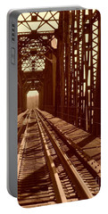 Portable Battery Charger featuring the photograph Red River Train Bridge #2 by Robert ONeil