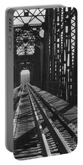 Portable Battery Charger featuring the photograph Red River Train Bridge #3 by Robert ONeil