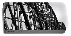 Portable Battery Charger featuring the photograph Red River Train Bridge #4 by Robert ONeil