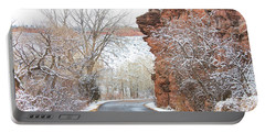 Red Rocks Winter Landscape Drive Portable Battery Charger