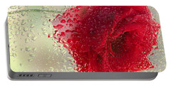 Red Rose In The Rain Portable Battery Charger