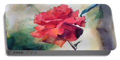 Watercolor Of A Single Red Rose On A Branch Portable Battery Charger