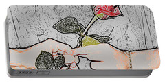 Red Rose Sketch By Jan Marvin Studios Portable Battery Charger