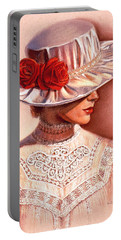 Red Roses Satin Hat Portable Battery Charger