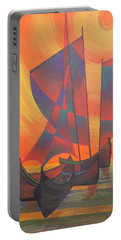 Portable Battery Charger featuring the painting Red Sails In The Sunset by Tracey Harrington-Simpson