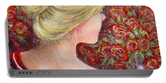 Portable Battery Charger featuring the painting Red Scented Roses by Natalie Holland