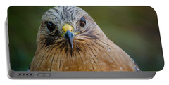 Red Shouldered Hawk Portable Battery Charger by Linda Villers