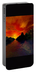 Portable Battery Charger featuring the digital art Red Sky by Kim Prowse