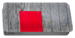 Red Square On A Wall Portable Battery Charger