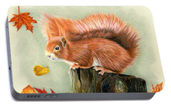 Red Squirrel In Autumn Portable Battery Charger by Sarah Batalka