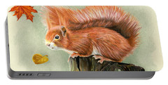 Red Squirrel In Autumn Portable Battery Charger