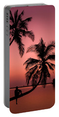 Red Sunset In The Tropics Portable Battery Charger