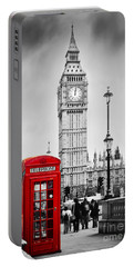 Red Telephone Booth And Big Ben In London Portable Battery Charger