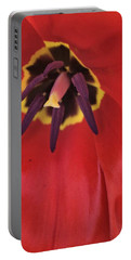 Red Tulip Detail Portable Battery Charger