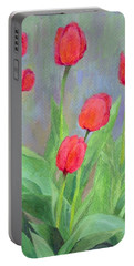 Red Tulips Colorful Painting Of Flowers By K. Joann Russell Portable Battery Charger