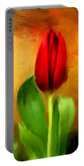 Red Tulips Triptych Section 1 Portable Battery Charger by Lourry Legarde