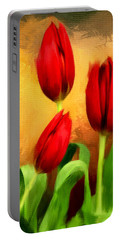 Red Tulips Triptych Section 2 Portable Battery Charger by Lourry Legarde
