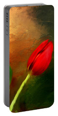 Red Tulips Triptych Section 3 Portable Battery Charger by Lourry Legarde