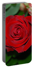 Portable Battery Charger featuring the photograph Red Velvet Rose by Connie Fox