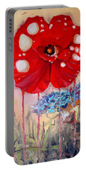 Portable Battery Charger featuring the painting Red Weed Red Poppy by Daniel Janda