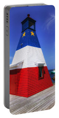 Red White And Blue Lighthouse Portable Battery Charger