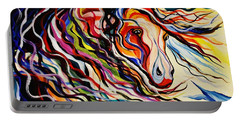 Red Wind Wild Horse Portable Battery Charger by Janice Rae Pariza