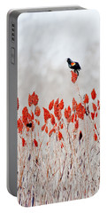 Red Winged Blackbird On Sumac Portable Battery Charger