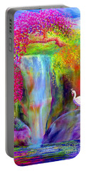 Waterfall And White Peacock, Redbud Falls Portable Battery Charger