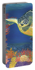Portable Battery Charger featuring the painting Reef Rider by Karen Zuk Rosenblatt