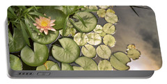 Reflected Light Upon Flowering Water Lilies Portable Battery Charger