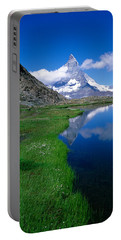Reflection Of Mountain In Water Portable Battery Charger