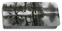Portable Battery Charger featuring the photograph Reflection Pond Spring Grove Cemetery by Kathy Barney