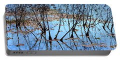 Reflections And Silhouetted Trees Portable Battery Charger