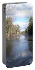 Reflections Caught On Ice At A Pretty Lake In New Hampshire Portable Battery Charger by Eunice Miller