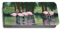 Portable Battery Charger featuring the painting Reflections In Pink by Karen Zuk Rosenblatt