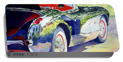 Portable Battery Charger featuring the painting Reflections On A Corvette by Roger Rockefeller