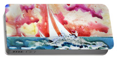 Portable Battery Charger featuring the painting Regatta by Joan Hartenstein