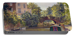 Regents Park Canal Oil On Canvas Portable Battery Charger