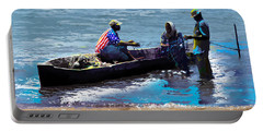 Portable Battery Charger featuring the painting Repairing The Net At Lake Victoria by Anthony Mwangi