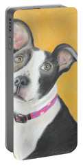 Portable Battery Charger featuring the painting Rescued Pit Bull by Jeanne Fischer
