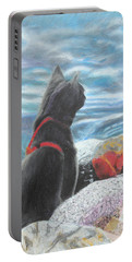 Portable Battery Charger featuring the painting Resting By The Shore by Jeanne Fischer