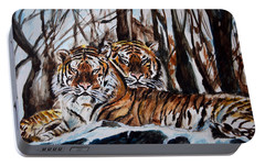 Portable Battery Charger featuring the painting Resting by Harsh Malik