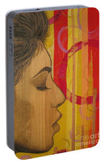 Portable Battery Charger featuring the mixed media Restless In Wonderment 3 by Malinda  Prudhomme