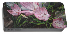 Portable Battery Charger featuring the painting Resurrection Lilies by Jane Autry
