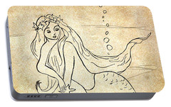 Portable Battery Charger featuring the drawing Retro Mermaid by Rosalie Scanlon