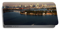 Retro Style Miami Skyline Sunrise And Biscayne Bay Portable Battery Charger