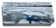 Rhinecliff Bridge Over The Icy Hudson River Portable Battery Charger