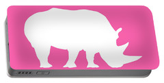 Rhino In Pink And White Portable Battery Charger